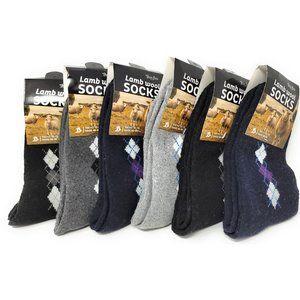 Men Lamb Wool Crew Socks, Thermal Warm Winter Heavy Duty Boot, Argyle, 12-Pairs